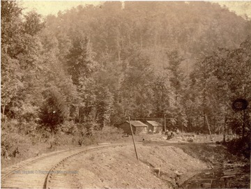 Photograph was taken during the construction of the Ohio extension of the Norfolk & Western Railroad.