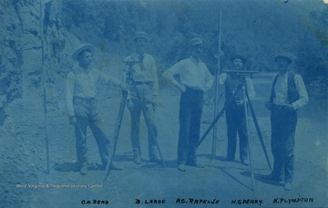 Civil Engineers working along the river, left to right: C. H. Read; B. Large; A. C. Rapelje; H. S. Perry; K. Plympton.