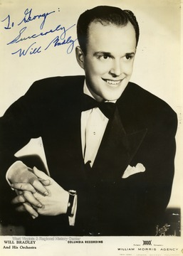 "This photo was collected by George and Mike Barrick, two WVU students. Will Bradley and his orchestra performed at the Met. in Morgantown, West Virginia. The photo is signed ""To George Sincerely Will Bradley"""