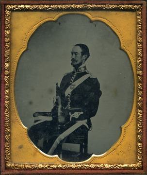 An ambrotype portrait of Nathaniel Alcock Bailee [Baillie] dressed in an unidentified uniform. Bailee was a chief civil engineer during the construction of the Chesapeake & Ohio Railroad in the Kanawha Valley, ca. 1867-1873.
