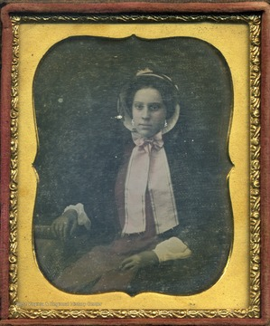 A direct descendent of John Hansford, who was a Kanawha Valley pioneer, Mary married Nathaniel Alcock Bailee[Baillie] in 1852. This cased image is a daguerreotype.