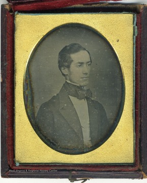 Daguerreotype portrait of Nathaniel Alcock Bailee [Baillie], married Mary Matilda Biglow in 1852. After the Civil War he was a chief civil engineer during the construction of the Chesapeake & Ohio Railroad through the Kanawha Valley.