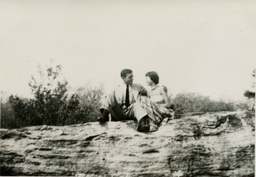 This is a photograph of George and Sarah Barrick. They are at Coopers Rock, West Virginia.