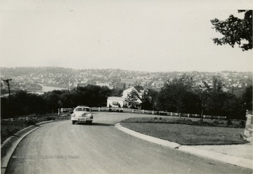 This is a photograph of University Avenue near Dorsey's Knob overlooking Morgantown West Virginia.