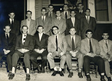 Front Row: Louis M. Scott, John B. Campbell Jr., Robert T. French, George M. Barrick Jr., Harold K. Curry, Bernard J. Folio, Leroy M. Darling. Second Row: James F. Anderson, Bernard S. Palcich, Stephen D. Norton Jr., Wayne Marfell, Wallace R. Dodge, Robert A. Heyl. Third Row: George Sallows, Mike Barrick, Waitman R. Waters.