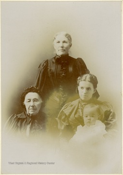Only identified subject is Great Aunt Mary Burchinal,1st on the left. Large mounted prints such as this are called cabinet cards.