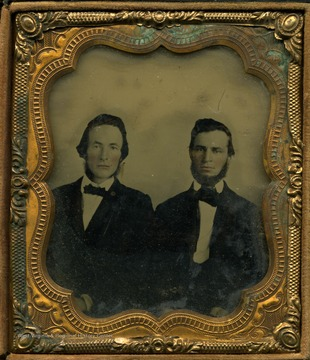 "Ambrotype image of two prominent political leaders, active in the formation and government of West Virginia. The reverse side of the image has a political advertisement stating, ""People's Ticket; For Congress, Wm G. Brown. Senate, Dan D. T. Farnsworth."" Brown did serve in the United States House of Representatives before and during the Civil War. Farnsworth was never elected to the Senate, however he did served in the West Virginia Legislature for several terms and as Interim-Governor in 1869."