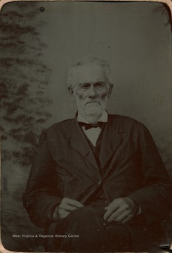 Portrait of an elderly Dayton. He was involved in the founding of the state of West Virginia, served as a delegate at the first and second Wheeling Conventions, one term in the West Virginia State Senate and State Prosecuting Attorney for Barbour, Randolph, Taylor and Tucker Counties.