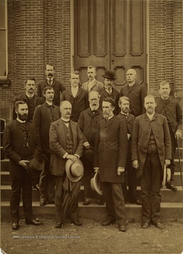 Front Row: Unidentified; Dr. E. M. Turner; Dr. P. B. Reynolds; Unidentified. Second Row: Unidentified; Dr. Douthat; Dr. St. George Tucker Brooke; Prof. J. S. Stewart. Third Row: Dr. Hartigan; Prof Willey; Dr. I. C. White; Unidentified. Fourth Row: Prof. Whitehill; Unidentified.