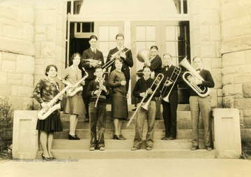 Virginia Hathaway: Second row with saxophone. Frederick Hathaway: First row with baratone.