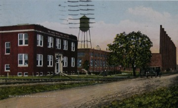 Colored postcard of the glass factory.