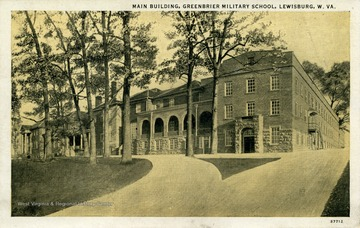 View looking up at the main building from the school driveway. (From postcard collection legacy system.)