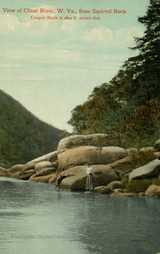 Coopers Rock is 1,800 ft. above this. Woman and child relax on rocks by the edge of the river. (From postcard collection legacy system.)