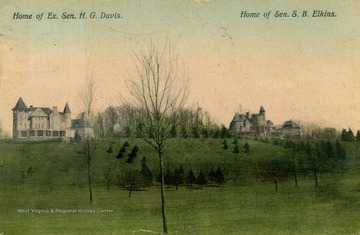 Home of Ex. Sen. H.G. Davis on left and home of Senator S.B. Elkins on right. Published by I. Stern. (From postcard collection legacy system.)