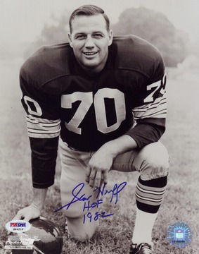 Sam Huff is an NFL Hall of Fame linebacker who played for the New York Giants and Washington Redskins. He was born in Farmington, West Virginia and played for the West Virginia University Mountaineers.