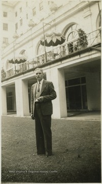 Thompson, a ticket agent, pictured infront of the hotel.
