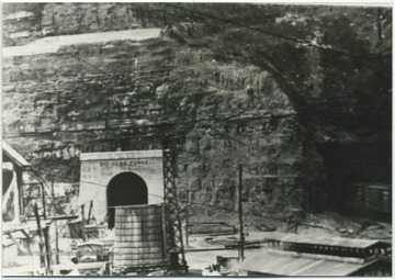 View of the construction site on the east portal of the tunnel near Hinton, W. Va.