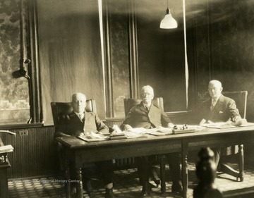 Print number 621a. Left to right: Thomas G. Keenan, William L. Park, Waitman Willey Keener.