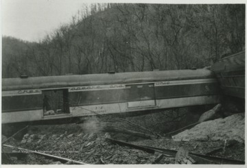 View of the derailed C&O train car.