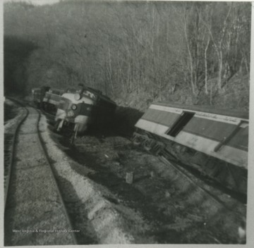 View from the tracks of the damage on the C&O railroad.