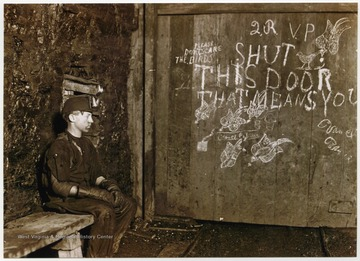 Vance, a 15 years old trapper boy, whose job it was to open and closed the door, allowing mine trains to enter and exit. Vance earned $1.60 a week.