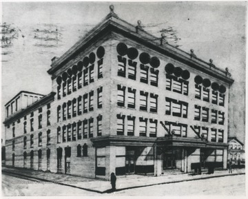 Postcard print of the theatre building.