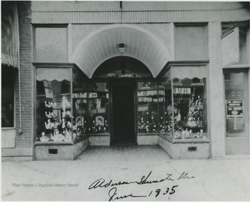 The building, home to the Alderson-Shumate Bootery, is located on Temple Street. Dr. Abbott dentistry pictured on right.