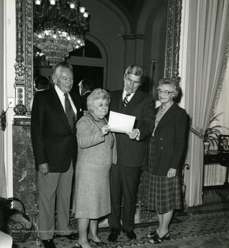 Senator John Warner is the man second from right and Helen Holt is the woman on the right.