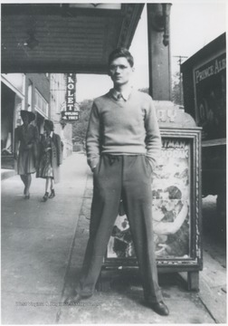 Petrey pictured in front of the Ritz Theatre on Ballengee Street.