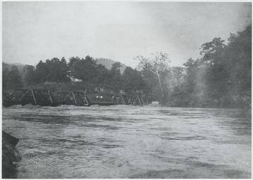 Glen Ray Lumber Co.'s construction site for the bridge on Greenbrier River.