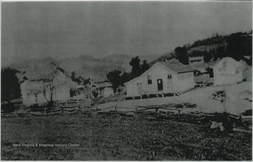Birthplace of Kyle Gwinn. Dan Donahue General Store in the center of the photo. The the left is Mamie Goheen house. At the bridge is I-64 E through Greenbrier County.