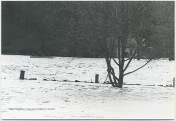 Three figured are pictured in the background canoeing on the flooded river. In the center of the picture is what appears to be a submerged wooden fence.