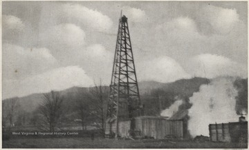 The oil well towers over wooden buildings beneath.Published by H. Gwinn & Co., Green Sulphur Springs, W. Va. See original for correspondence.