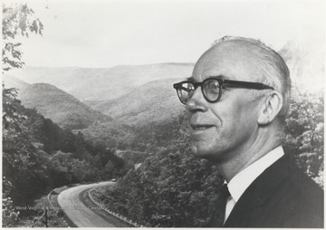 The former congressman pictured in front of a picturesque West Virginia scene. Representative Hechler was also West Virginia Secretary of State and an author.