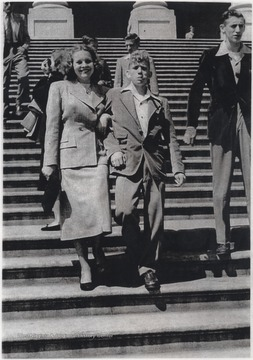 "To the left of ""Buzz"", formerly known as Jack, is George Hulme. In rear is Tommy Joe Hellems. The group is there for a Hinton High School graduation trip in the spring of 1948.""Buzz"" Hellems went on to Concord College after high school and later joined the United States Navy, serving on the USS Orion. Eventually returning to his home in Hinton, ""Buzz"" owned and operated Hellems Cash Store for more than 58 years. He served on the West Virginia State Senate from 1975-1976 and was a former chairman of the Summers County Democrat Executive Committee as well as the former Director of the Nationanl Bank of Summers. He was married to Glenda Hamm Hellems for 51 years until his death on January 9, 2009 at the age of 78."
