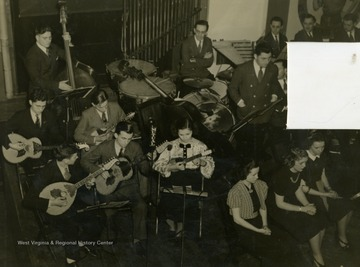 "Caption accompanying photograph reads: ""The Croatian Tambouritza Orchestra numbers six youthful members, two of whom work for the corporation, the remaining four being children of mill employees."" Like all who worked for the broadcast, it was required to be an employee of Wheeling Steel or an immediate family member of an employee."