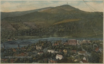 Drawn, colored depiction of the city set beside New River.Postcard postmarked January 22, 1933 was published by Dolin Bros. of Hinton, W. Va. See original for correspondence.
