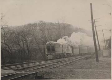"The C. & O. Railway Company test-runs its experimental engine, part of its ""500 series""."