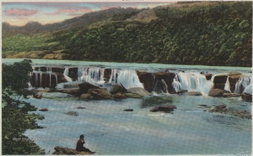 Colored, drawn depiction of the waterfalls along New River.