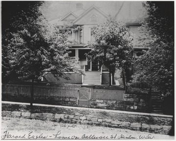 View of home lived in by Harold, son of Edward Calvin Eagle.Edward C. Eagle served on the local Hinton bar for nearly a quarter of a century after paying his way through West Virginia University. Mr. Eagle served his first term as prosecuting attorney of Summers County from 1902 to 1904 and for the following twenty years was the United States commissioner at Hinton. In 1920, he was elected prosecuting attorney on a platform that called for the suppression of moon-shining and law-breaking in general.