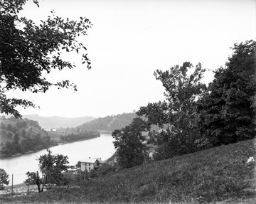 Photograph showing a scene of the Seneca neighborhood and the Monongahela River taken from the West Virginia University Campus, Morgantown, W. Va.