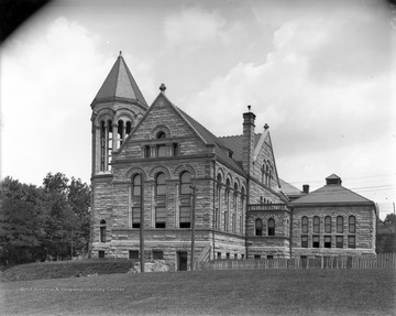 Side view of Stewart Hall when it was the WVU Library and Administration building