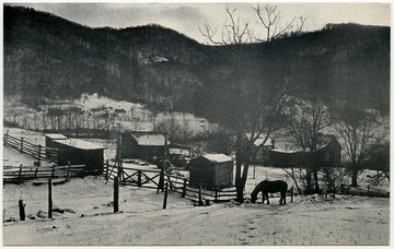 "The postcard caption reads: ""A mid winter pause at The Women's Farm near Hinton.  The great wings of mountains hover in frozen flight above this holler which is the home of EcoTheater and a center for the arts in southern West Virginia.""Maryat Lee named her home near Hinton, W. Va. ""The Women's Farm."" It was her home and the home of EcoTheater until Lee moved to Lewisburg, W. Va. in 1984.Maryat Lee (born Mary Attaway Lee; May 26, 1923 – September 18, 1989) was an American playwright and theatre director who made important contributions to post-World War II avant-garde theatre.  She pioneered street theatre in Harlem, and later founded EcoTheater in West Virginia, a community based theater project.Early in her career, Lee wrote and produced plays in New York City, including the street play ""DOPE!""  While in New York she also formed the Soul and Latin Theater (SALT), and wrote plays centered around the lives of the actors in the group.In 1970 Lee moved to West Virginia and formed the community theater group EcoTheater in 1975.  Beginning with local teenagers from the Governor's Summer Youth Program, the rural theater group grew, and produced plays based on oral histories collected from the local community.  Each performance of an EcoTheater play involved audience participation and discussion.  With the assistance of the Humanities Foundation of West Virginia, guest scholars became a part of EcoTheater."