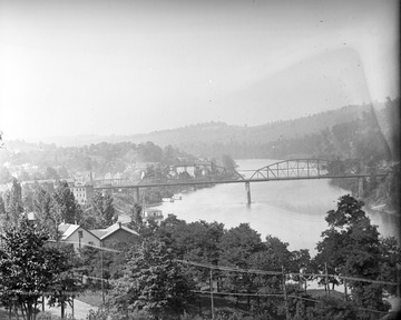 View from hill where Brooks, Armstrong, and Physics (WVU Buildings) are now, toward the River Bridge (after 1907).