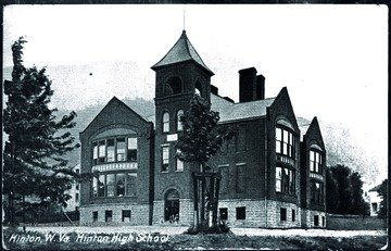 A rare illustration of the old high school building built before 1900. A few years later, the windows in the front, right side were bricked over.