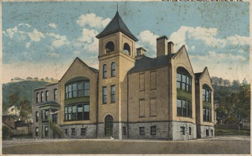 Postcard drawing of the old high school building. Postmarked September 25, 1920. See original for correspondence.