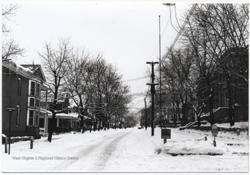View of a snow-covered street looking from 4th Avenue.