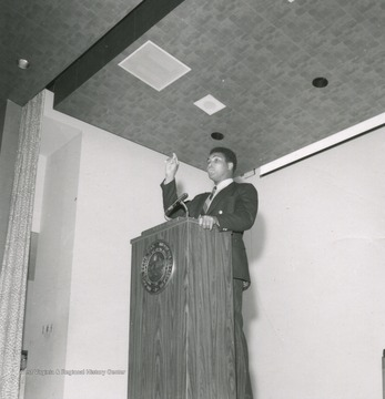 Boxing champion Muhammad Ali addresses students while visiting West Virginia University as a part of the Festival of Ideas speaker series