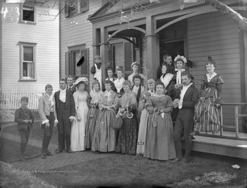 Group portrait of Old Folks' Party, possibly at West Virginia University.