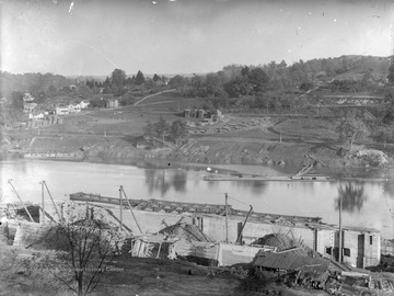 View of construction of lock and dam along Monongahela River.